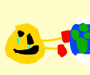 Epic ha ha laughing emoji beats up the world