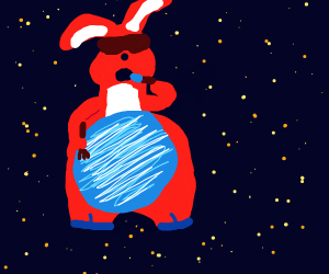 Space bunny eating a planet