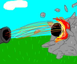 a fire canon breaking rock