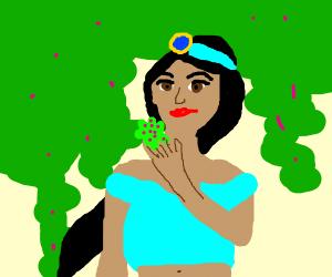 Girl named Jasmine smelling.the.flower jasmin