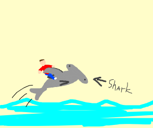 Man sits on top of shark as it jumps
