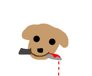 Dog with a bloody knife in its mouth