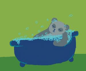 Grey adorable panda takes a bubble bath