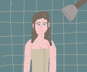 Girl sad because she just took a shower