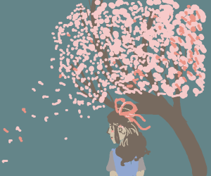 A girl with ribbons in hair; blossoming trees