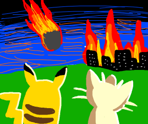 pikachu and meowth watch the world end
