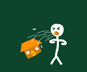 White stickman barfing out of house