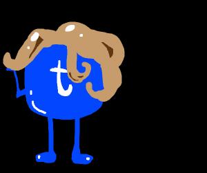 tumbler logo wearing a wig