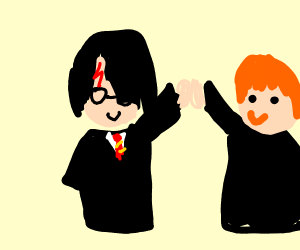 Harry and Ron high-fiveing