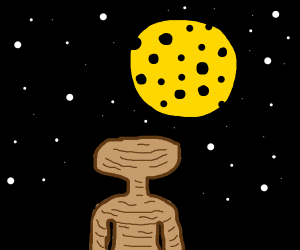 ET in front of cheese moon