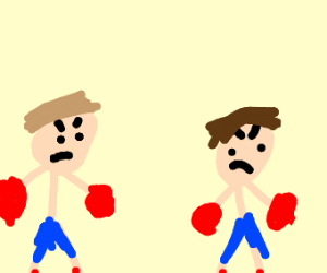 Two dudes boxing