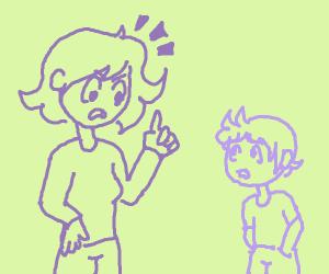 A purple mom scolding her purple child
