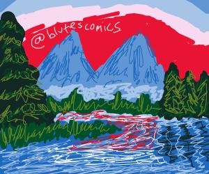 Bob Ross-esque landscape