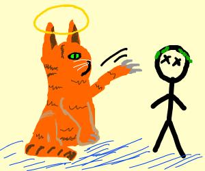 Godcat kills the human hero