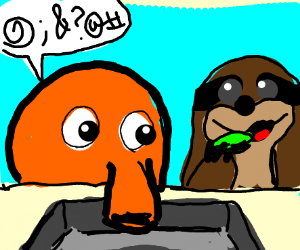 Cool Q-bert tells Sloth to eat over the sink