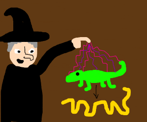 a witch turns a lizard into a noodle