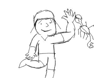 Little boy stealing a crab