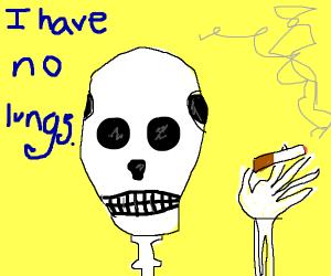 Skeleton smoking