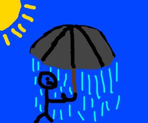 Raining under the umbrella