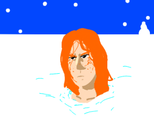 Angry redhead girl buried in snow up to neck.
