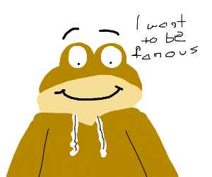 Golden frog wants to be famous