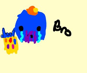 Thanos w/ green pacifier on his head. Shaka.