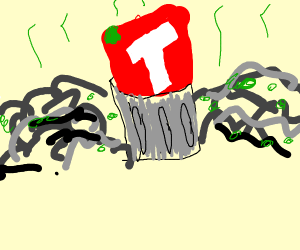 T-series symbol in garbagecan