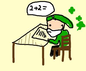 Leprechaun doing math