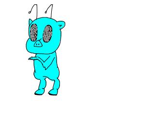 blue alien pig