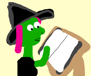 Witchy woman reading a manual