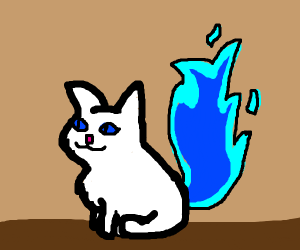White cat with blue fire tail