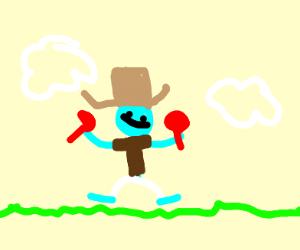 blue Mexican smurf shaking maracas