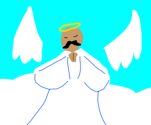 Mustached angel with detached wings