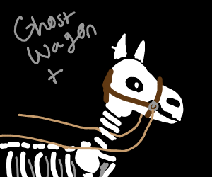 Ghost wagon pulled by horse skeletons