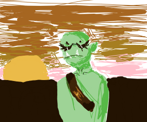 Orc Woman Watches Sunrise