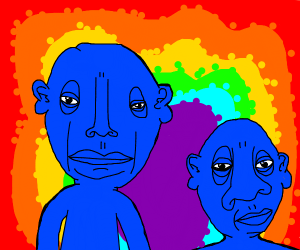 An acid trip with two blue men