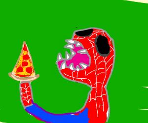 Spider-man eats pizza