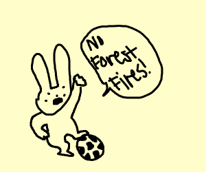 Soccer bunny advocate for stopping wildfires