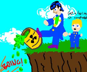josuke (part 4) pours away toxic waste