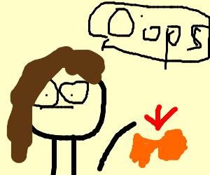 Girl drops fish