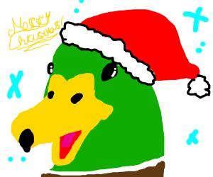 Duckling wearing Santa's hat