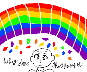 Bald man questioning under candy cane rainbow