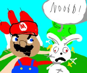 Mario strangling a rabbit