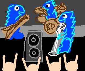 Blue dinosaur concert in NY