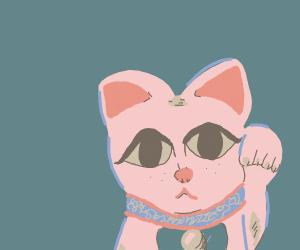 pink Maneki-neko watching you