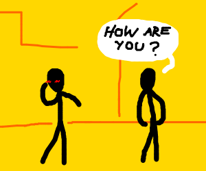 Blushing stickman is asked how he is
