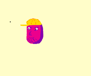 thanos wearing a yellow cap