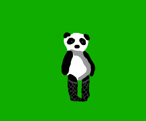 Panda wearing fishnet tights outside