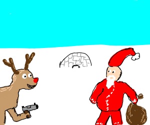 Reindeer strikes back towards Santa