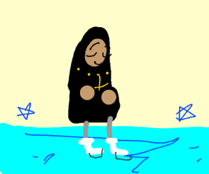 A nun ice skating